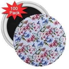 Watercolor Flowers Butterflies Pattern Blue Red 3  Magnets (100 Pack)