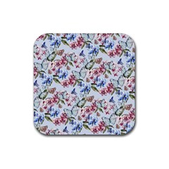 Watercolor Flowers Butterflies Pattern Blue Red Rubber Coaster (Square)