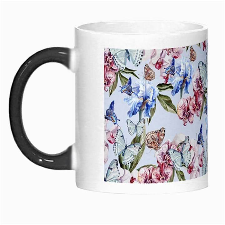 Watercolor Flowers Butterflies Pattern Blue Red Morph Mugs