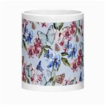 Watercolor Flowers Butterflies Pattern Blue Red Morph Mugs Center