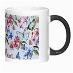 Watercolor Flowers Butterflies Pattern Blue Red Morph Mugs Right