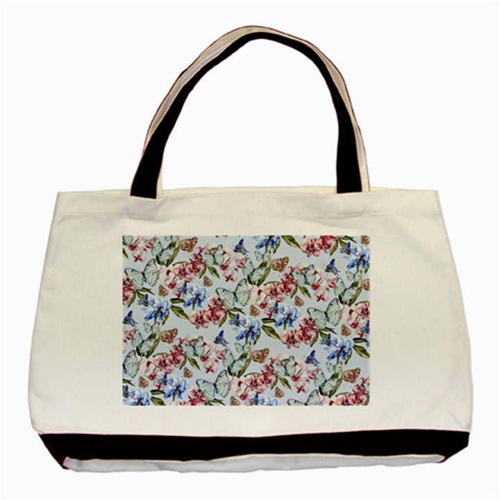 Watercolor Flowers Butterflies Pattern Blue Red Basic Tote Bag (Two Sides)