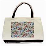 Watercolor Flowers Butterflies Pattern Blue Red Basic Tote Bag (Two Sides) Back