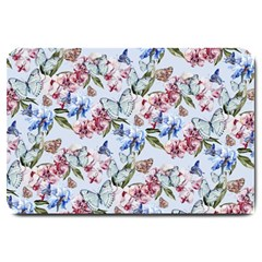 Watercolor Flowers Butterflies Pattern Blue Red Large Doormat