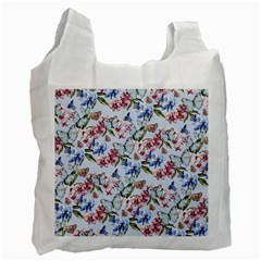 Watercolor Flowers Butterflies Pattern Blue Red Recycle Bag (Two Side)