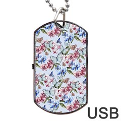 Watercolor Flowers Butterflies Pattern Blue Red Dog Tag Usb Flash (two Sides)