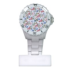 Watercolor Flowers Butterflies Pattern Blue Red Plastic Nurses Watch
