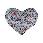 Watercolor Flowers Butterflies Pattern Blue Red Standard 16  Premium Flano Heart Shape Cushions Front