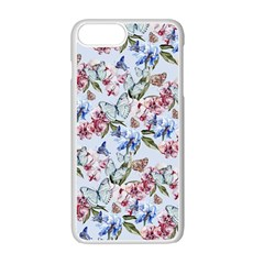 Watercolor Flowers Butterflies Pattern Blue Red Apple Iphone 7 Plus White Seamless Case