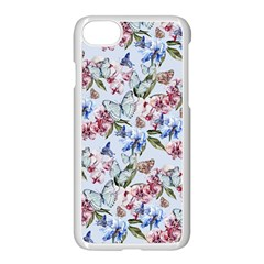 Watercolor Flowers Butterflies Pattern Blue Red Apple Iphone 7 Seamless Case (white)