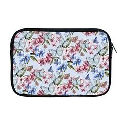 Watercolor Flowers Butterflies Pattern Blue Red Apple Macbook Pro 17  Zipper Case