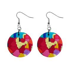 Colorful Leather Pieces             1  Button Earrings