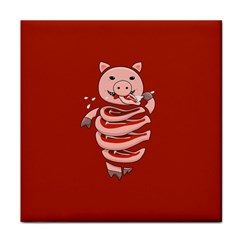 Red Stupid Self Eating Gluttonous Pig Tile Coasters