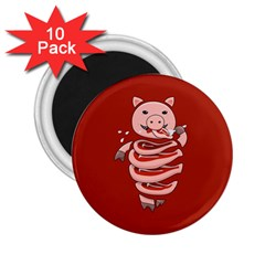 Red Stupid Self Eating Gluttonous Pig 2 25  Magnets (10 Pack)