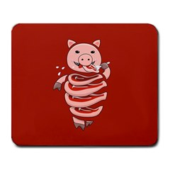 Red Stupid Self Eating Gluttonous Pig Large Mousepads