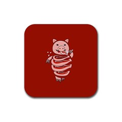 Red Stupid Self Eating Gluttonous Pig Rubber Square Coaster (4 Pack)