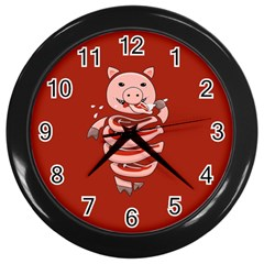 Red Stupid Self Eating Gluttonous Pig Wall Clocks (black)