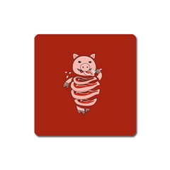 Red Stupid Self Eating Gluttonous Pig Square Magnet