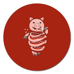 Red Stupid Self Eating Gluttonous Pig Magnet 5  (round)