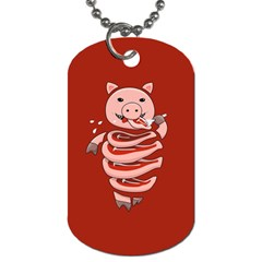 Red Stupid Self Eating Gluttonous Pig Dog Tag (one Side)