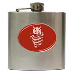Red Stupid Self Eating Gluttonous Pig Hip Flask (6 Oz)