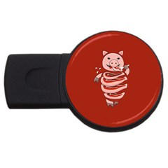 Red Stupid Self Eating Gluttonous Pig USB Flash Drive Round (1 GB)