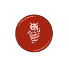 Red Stupid Self Eating Gluttonous Pig Hat Clip Ball Marker