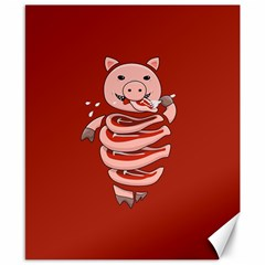 Red Stupid Self Eating Gluttonous Pig Canvas 8  X 10