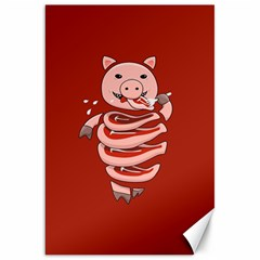 Red Stupid Self Eating Gluttonous Pig Canvas 20  X 30
