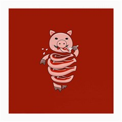 Red Stupid Self Eating Gluttonous Pig Medium Glasses Cloth (2 Side)