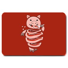Red Stupid Self Eating Gluttonous Pig Large Doormat