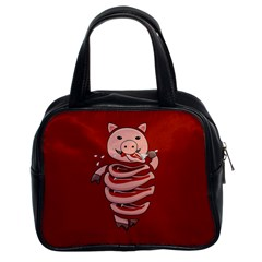 Red Stupid Self Eating Gluttonous Pig Classic Handbags (2 Sides)