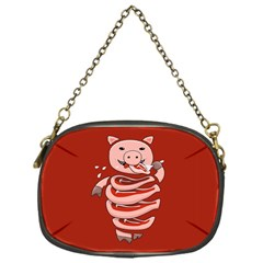 Red Stupid Self Eating Gluttonous Pig Chain Purses (one Side)