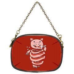 Red Stupid Self Eating Gluttonous Pig Chain Purses (two Sides)