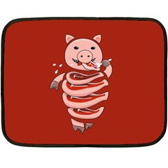 Red Stupid Self Eating Gluttonous Pig Fleece Blanket (mini)