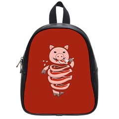 Red Stupid Self Eating Gluttonous Pig School Bags (Small)