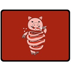 Red Stupid Self Eating Gluttonous Pig Fleece Blanket (Large)