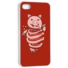 Red Stupid Self Eating Gluttonous Pig Apple iPhone 4/4s Seamless Case (White)