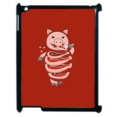 Red Stupid Self Eating Gluttonous Pig Apple iPad 2 Case (Black)