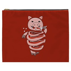 Red Stupid Self Eating Gluttonous Pig Cosmetic Bag (xxxl)