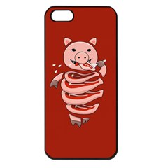 Red Stupid Self Eating Gluttonous Pig Apple Iphone 5 Seamless Case (black)