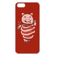 Red Stupid Self Eating Gluttonous Pig Apple Iphone 5 Seamless Case (white)