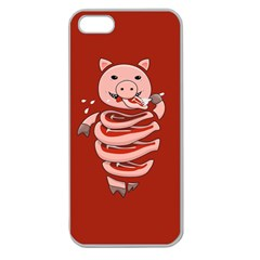 Red Stupid Self Eating Gluttonous Pig Apple Seamless Iphone 5 Case (clear)