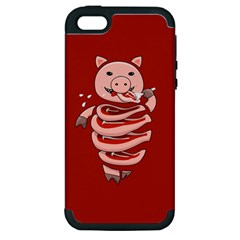 Red Stupid Self Eating Gluttonous Pig Apple Iphone 5 Hardshell Case (pc+silicone)