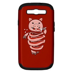 Red Stupid Self Eating Gluttonous Pig Samsung Galaxy S Iii Hardshell Case (pc+silicone)