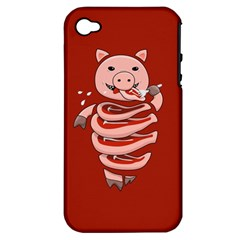 Red Stupid Self Eating Gluttonous Pig Apple Iphone 4/4s Hardshell Case (pc+silicone)