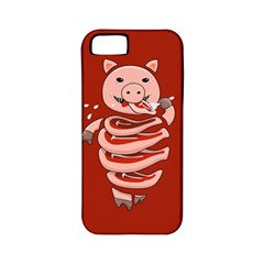 Red Stupid Self Eating Gluttonous Pig Apple Iphone 5 Classic Hardshell Case (pc+silicone)