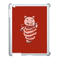 Red Stupid Self Eating Gluttonous Pig Apple Ipad 3/4 Case (white)