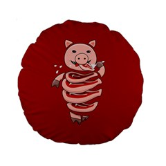 Red Stupid Self Eating Gluttonous Pig Standard 15  Premium Round Cushions