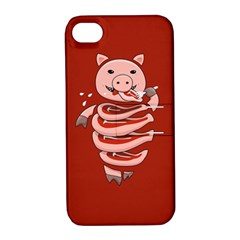 Red Stupid Self Eating Gluttonous Pig Apple iPhone 4/4S Hardshell Case with Stand